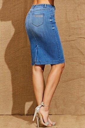 Kadın Mavi Yırtmaçlı Kot Etek 21024