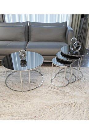 Zigon Ve Orta Sehpa Seti Gümüş Ayak Füme Ayna