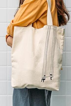 Kanvas Salıncak Baskılı Bez Çanta