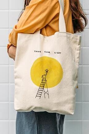 Kanvas Shine Your Light Baskılı Bez Çanta