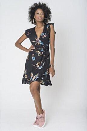 Kadın Lacivert Çiçekli Kruvaze Elbise