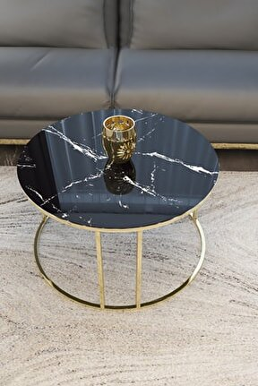 Gold Orta Sehpa (siyah Mermer Desenli Kırılmaz Cam)