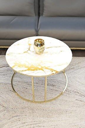 Gold Orta Sehpa ( Mermer Desenli Kırılmaz Cam)