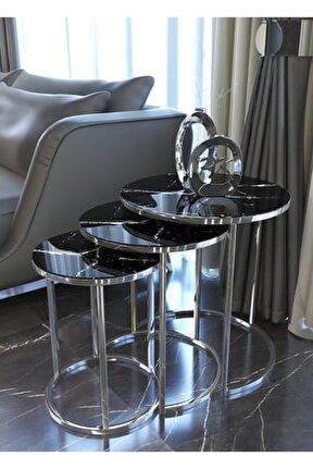 Gümüş Zigon Sehpa, Siyah Mermer Desenli Kırılmaz Cam