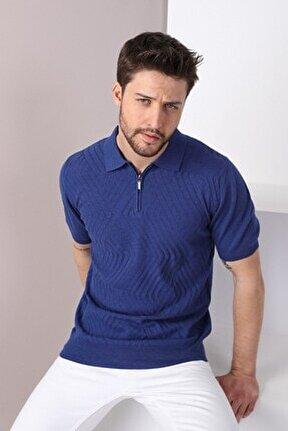Erkek Lacivert Polo Yaka Zigzag Desen Pamuk Triko T-shirt
