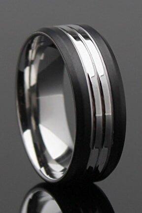 Black Silver Çizgili Çelik Alyans