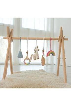 Dizayn Doğal Ahşap Bebek Egzersiz Aleti Oyun Alanı