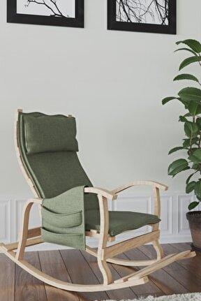 Sultan Ahşap Sallanan Sandalye Yeşil-doğal