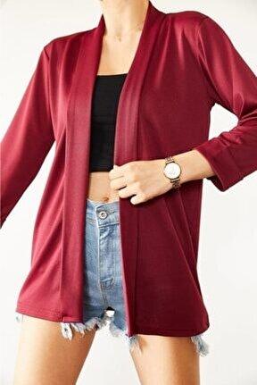 Kadın Kırmızı Örme Krep Kumaş Mevsimlik Ceket