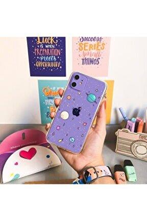 Iphone 11 Gezegenler Desenli Şeffaf Telefon Kılıfı