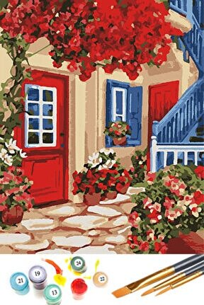 Kırmızı Bahçe Sayılarla Boyama Hobi Seti 40x50 cm