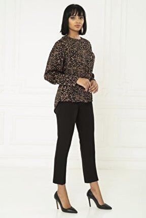 Kadın Siyah Sırt ve Kol Düğme Detaylı Bluz