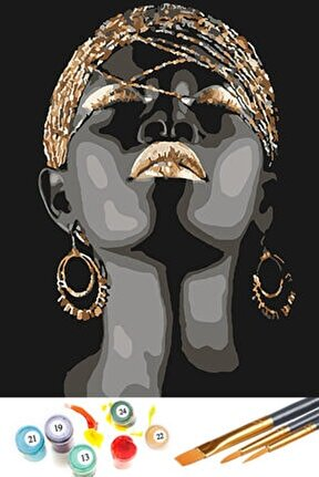 Sayılarla Boyama Hobi Seti 40x50 cm Afrikalı Zenci Kadın