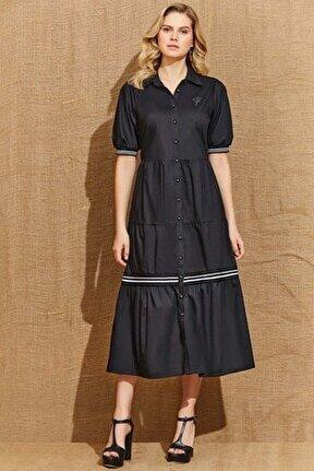 Kadın Siyah Elbise 21035
