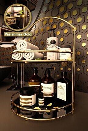 Banyo Düzenleyici Organizer Takı Kozmetik Havlu Rafı Standı 2 Katlı 40cm