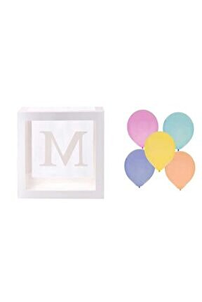 Şeffaf M Harfli Beyaz Kutu Ve Balon Seti Kendin Yap Bebek Çocuk Doğum Günü Süsleme