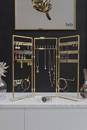 Gold Altın 3'lü Takı Standı, Takılık, Küpelik, Bileklik, Kolye Seti, Takı Dolabı Düzenleyici