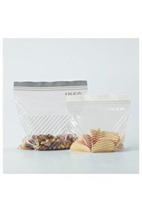 Kilitlenebilir Buzdolabı Poşeti Meridyendukkan Kilitli Poşet Gri-beyaz 50 Adet