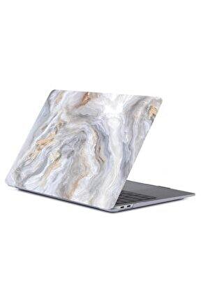 "Macbook Pro 13"" M1 A2338 2020 Uyumlu Bej Mermer Koruma Kılıfı Kapak"