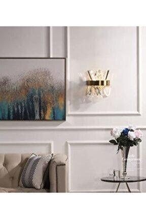 Modern Luxury Kristal Taşlı Ledli Aplik Gold Eskitme Concept Ürün