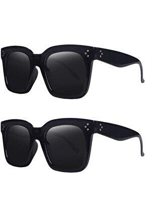 Kg014 2'li Paket Siyah-siyah Vintage Büyük Boy Kadın Güneş Gözlüğü