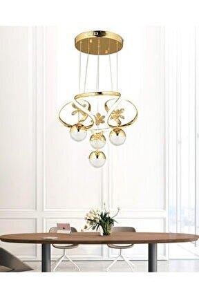 Luxury Modern Sarkıt Toplu Kelebekli Led Avize Gold Sarı