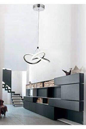 Modern Tekli Sarkıt Power Led Avize Concept Ürün Krom Beyaz Işık