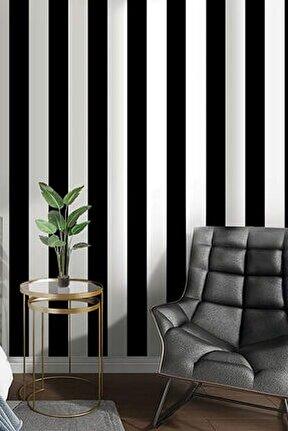 7950 Kalın Çizgili Siyah Beyaz Duvar Kağıdı (5 M²)