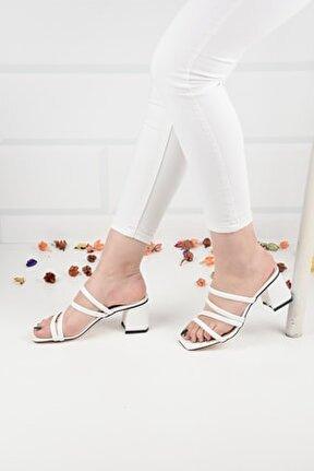 Kadın Beyaz Deri Topuklu Terlik Sandalet Ba20888