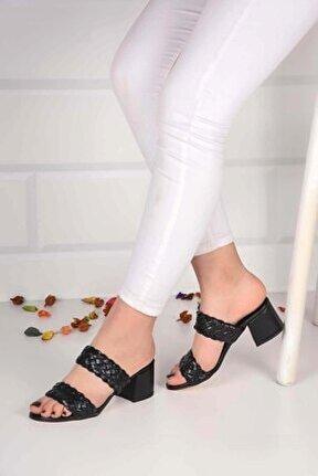 Kadın Siyah Deri Örme Terlik Sandalet