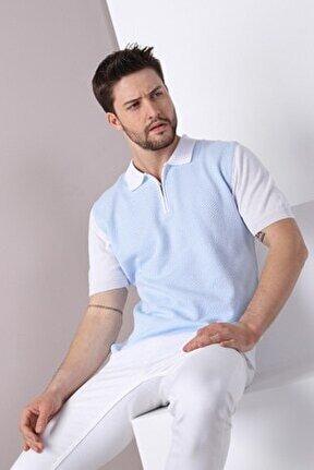 Erkek Beyaz Açık Mavi Polo Yaka Desenli Pamuk Triko T-shirt