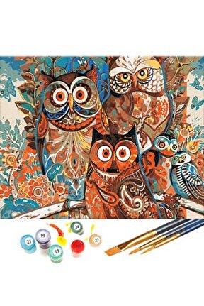 Renkli Baykuşlar Sayılarla Boyama Hobi Seti 40x50 cm