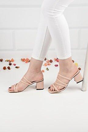 Kadın Krem Deri Topuklu Terlik Sandalet Ba20888