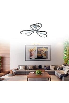 Modern Plafonyer Üçlü Power Led Avize Concept Ürün Krom Beyaz Işık