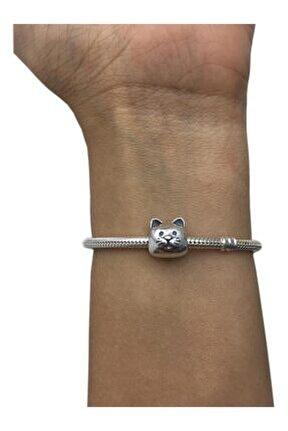 Meraklı Kedi Pandora Bileklikleri İçin Gümüş Charm