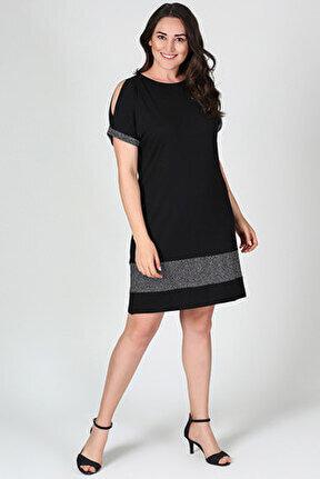 Kadın Eteği Kol Ucu Simli Elbise M8042