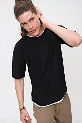 Erkek Siyah Bisiklet Yaka Oversize Kombin Detaylı Pamuklu Triko T-shirt 21s205