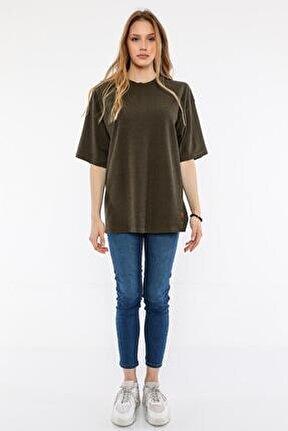 Kadın Haki Oversize T-shirt (un-7040)