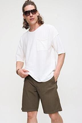Erkek Ekru Bisiklet Yaka Oversize Cep ve Daralan Kesim Detaylı,Pamuklu Triko T-shirt