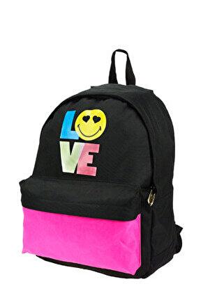 Smiley Love Siyah Genç Kız Sırt Çantası (Trx-8E-Smlo) /