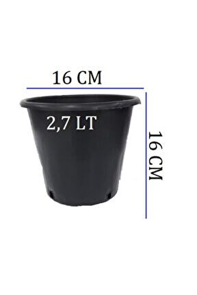 Üretim Saksısı 3 Adet 16x16 Cm 2,7 Lt Plastik Saksı Siyah Üretim Saksı Bitki Saksı