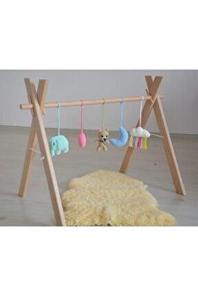Doğal Ahşap Bebek Egzersiz Aleti Oyun Alanı Oyuncaklar Dahildir