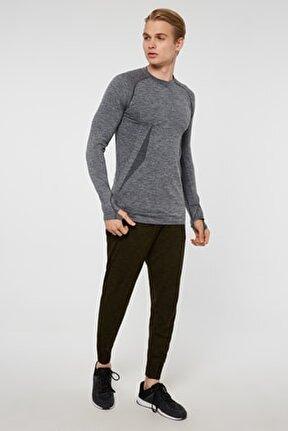Maine Parmak Çıkışlı Uzun Kol Sporcu T-shirt Gri
