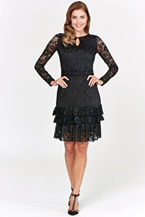 Kadin Siyah Elbise Gtr19802-Dress