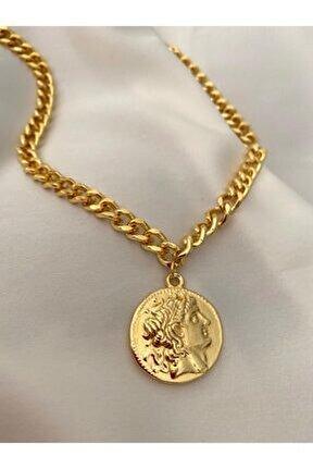 Kadın Altın Renk Çift Taraflı Madalyon Zincir Kolye