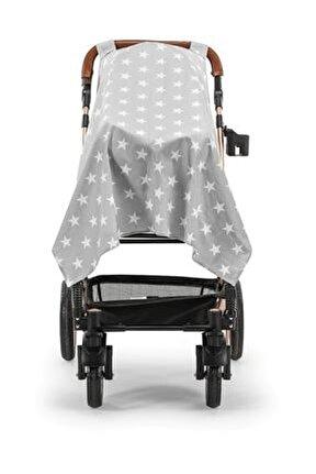 Gri Yıldız Poplin Puset Bebek Arabası Örtüsü