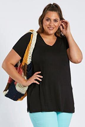 Kadın Siyah V Yaka Basic Tişört 101010400083