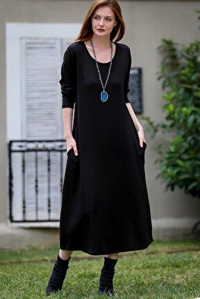 Kadın Siyah Gizli Cepli Oversize Salaş Elbise C10160000EL97767