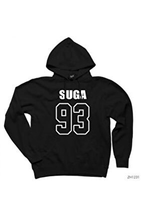 Bts Suga 93 Siyah Kapşonlu Sweatshirt / Hoodie