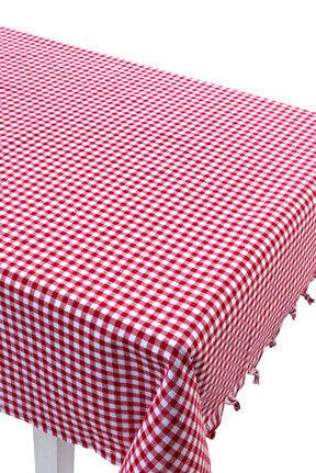 Masa Örtüsü Piti Kareli Zifir Kırmızı